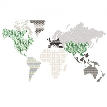 Naklejka Mapa 5 Brąz