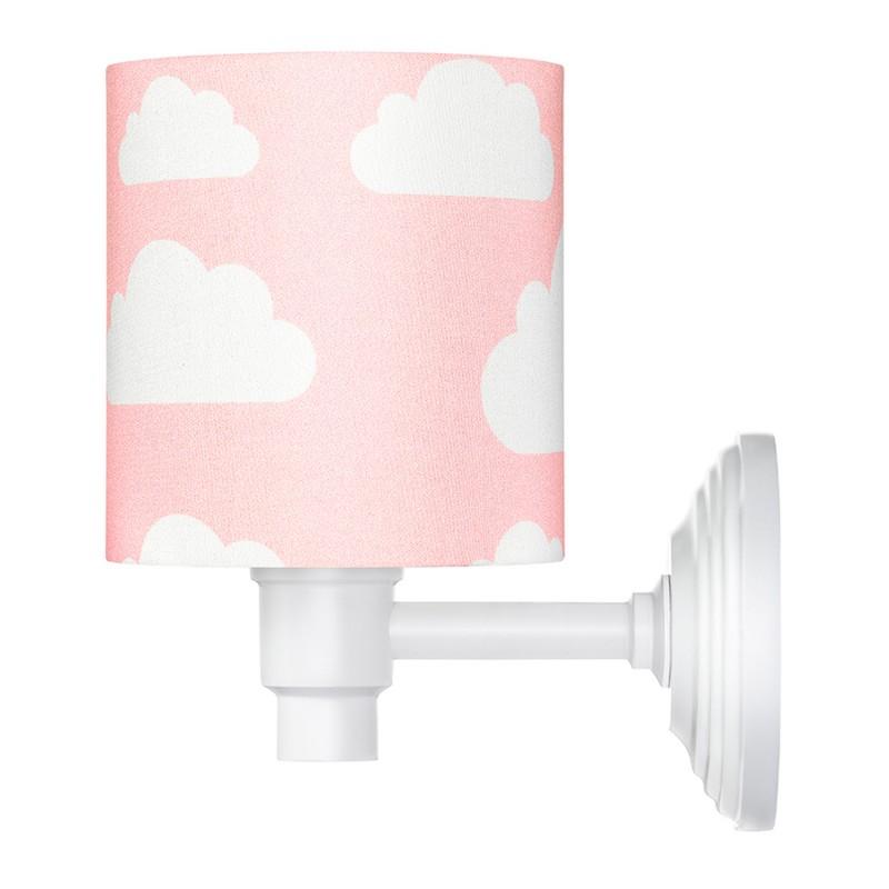 Kinkiet różowy w chmurki -...