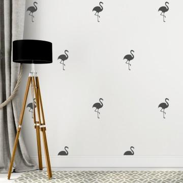 Naklejka na ścianę - Flamingi