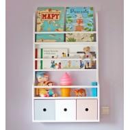 Drewniana Półka Na Książki Dla Dzieci 3 Szufladki