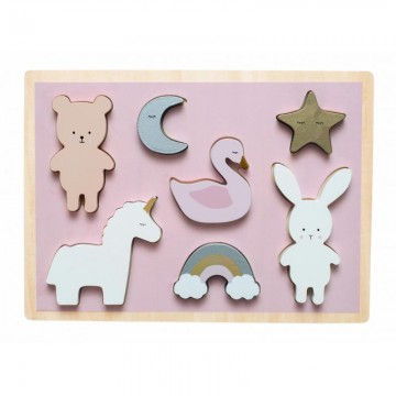 Drewniane puzzle jednorożec...