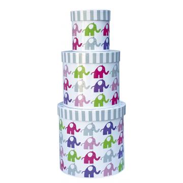 Okrągłe pudełka różowe słonie