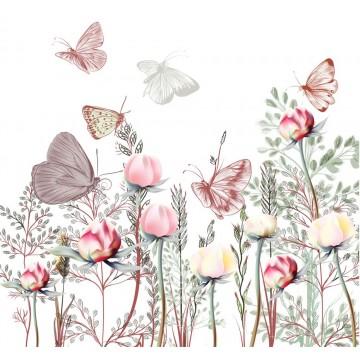 Tapeta Różowa łąka z motylkami