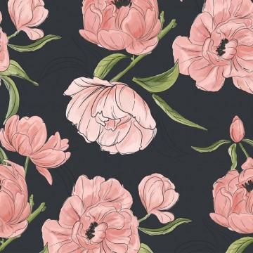 Tapeta Kwiaty na czerni