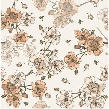 Tapeta Beżowe kwiaty