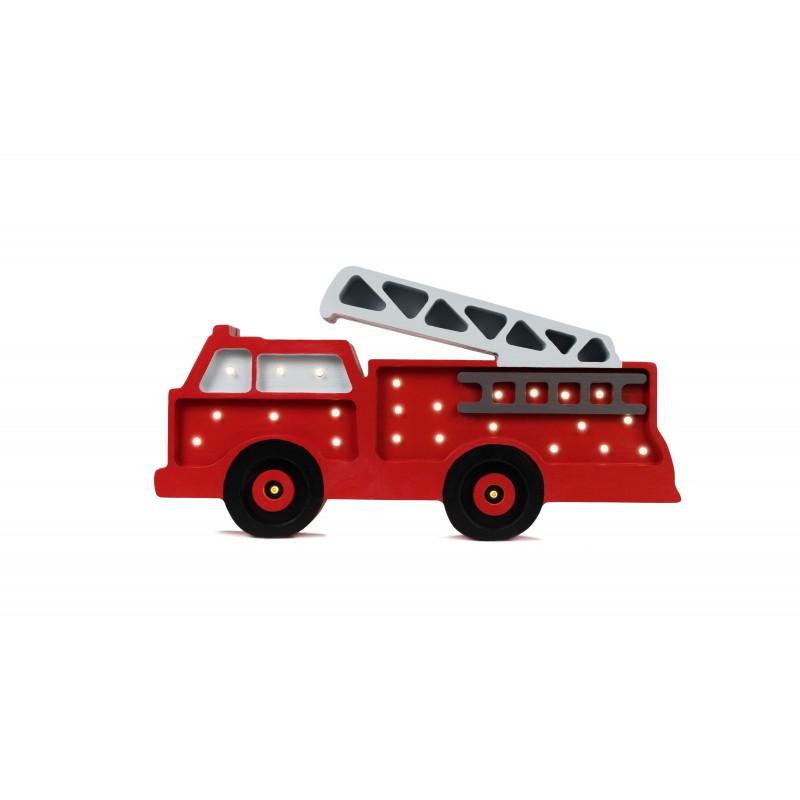 Lampa drewniana wóz strażacki
