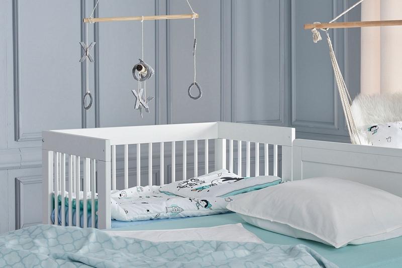 Pinio Basic łóżeczko Dostawka 90x50 Materac Komplet
